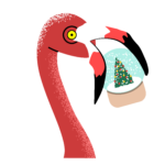 winter flamingo - snowball